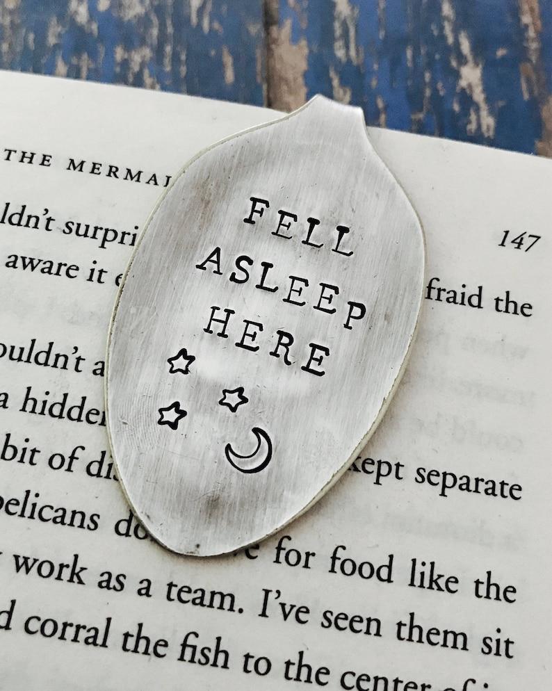 Fell Asleep Here Vintage Spoon Bookmark  Moon and Stars  image 0
