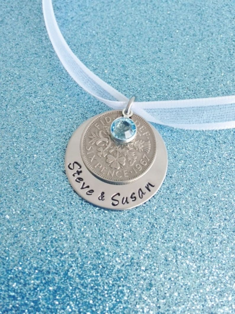 Lucky Six Pence Wedding Bouquet Charm Personalized Blue image 0