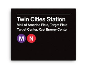 Minneapolis subway etsy twin cities pro sports venues subway sign gallery wrapped canvas reheart Image collections