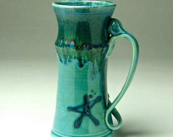 Riesige Bierkrug, großen Kaffeetasse, 32 oz Stein, Aqua Blau Grün, laufende laufglasur, große Keramik-Becher, hoch Kaffeetasse, hand Rad geworfen Becher