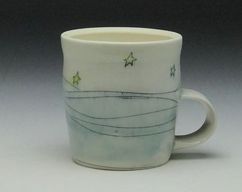 Ceramic coffee mug, starry night, porcelain tea cup, outdoors camping, small coffee cup, handmade mug, outer space, stars sky,blue and white