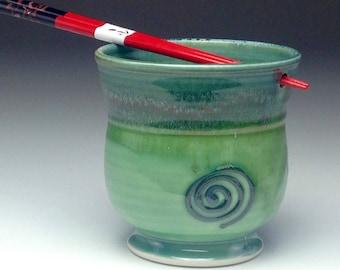 Handmade ramen bowl, hand thrown ceramic bowl, chopstick holder, spearmint green, porcelain rice bowl, wheel thrown pottery,by Gabriel Kline