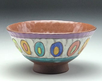Hand Thrown Bowl Wheel Pottery Pinched Clay Ceramic Cereal Handmade Polka Dot Pattern Rainbow Colors Stoneware