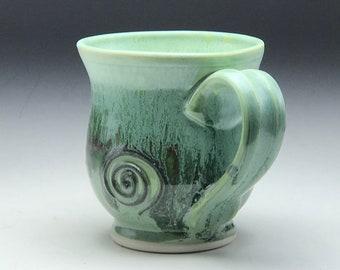Ceramic tea cup, hand thrown mug, mint green glaze, small coffee cup, wheel thrown pottery, round mug porcelain clay, by Gabriel Kline