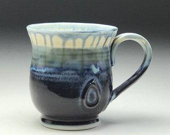Wheel thrown mug, Ceramic tea cup, purple blue glaze, hand thrown mug, large coffee cup, porcelain coffee mug, 16oz, Gabriel Kline Pottery