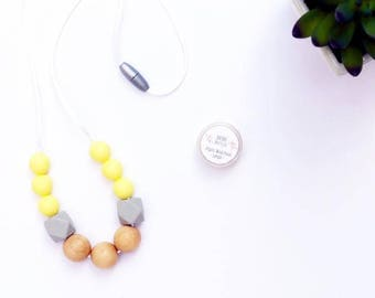 Wood & Silicone Teething Necklace for Mom - Nursing + Babywearing Distraction - Lemon + Soft Gray Chew Beads - Natural Wood Beads