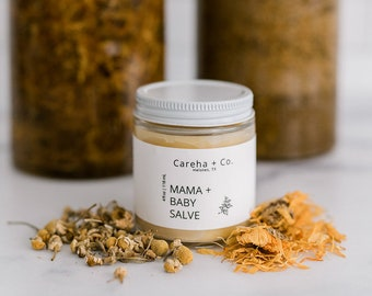 Postpartum Mama + Baby Salve - Soothing Herbal Salve - New Mother Gift - Baby Shower Gift Idea - For C-Section Perineum Diaper Rash and More