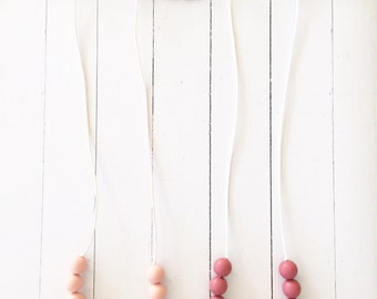 Wood & Silicone Teething Necklace for Mom - Nursing + Babywearing Distraction - Marsala + Blush BPA free Beads - Mother's Day Gift