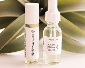 Happy Mama Essential Oil Blend - Aromatherapy for Anxiety, Depression, Baby Blues, Stress Relief, Happiness - New Mother Gift