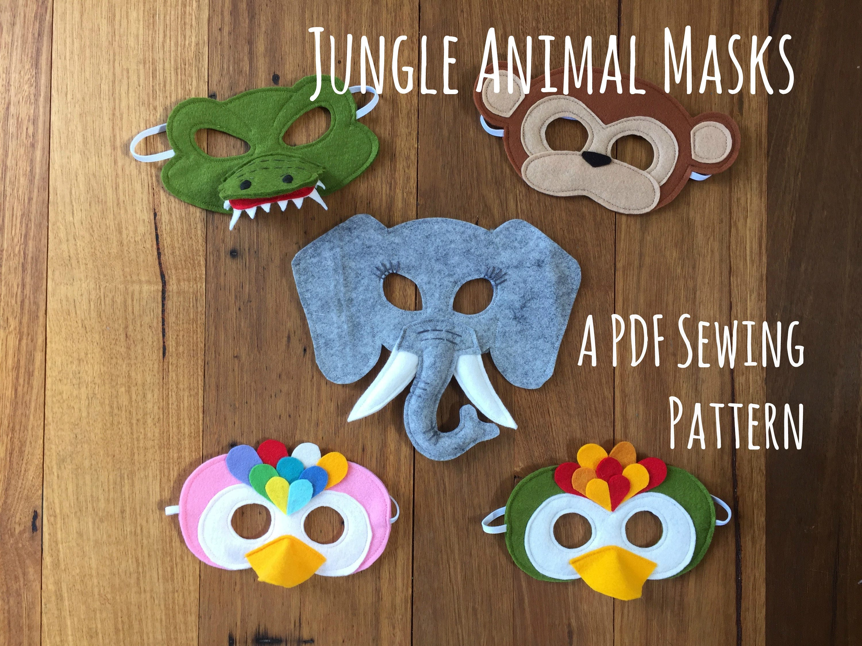 Jungle Animal Masks Crocodile Parrot Elephant and Monkey