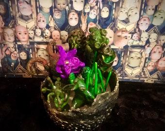 clay cactus and pot set