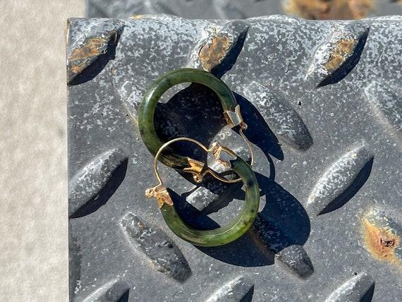Vintage 14k Gold Nephrite Hoop Earrings