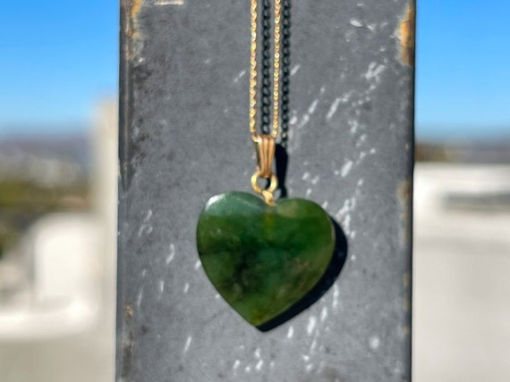 14kGF Nephrite Heart Necklace