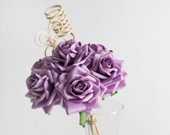 Plawanature Purple Rose Mulberry Paper Flower Bouquet with Reed Diffuser for Home Fragrance (Bundle of of 7 Roses).