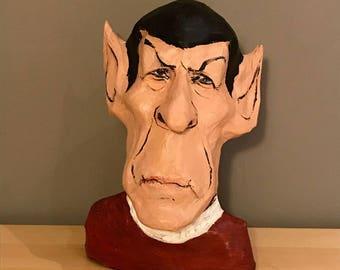 Mr. Spock sculpture, Star Trek, handmade paper mache figurine
