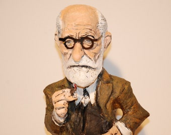 Sigmund Freud Sculpture, Handmade figure, gift for psychiatrist and psycologist