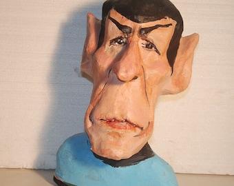 Star Trek, Mr. Spock sculpture, handmade paper mache figurine