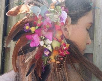Spring floral ear cuff