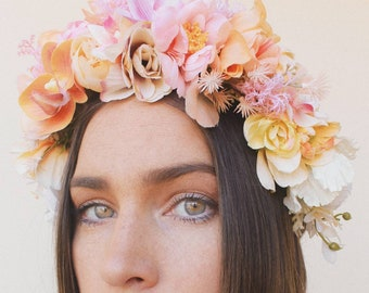 Coral pinks and creams flower crown