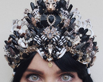 Black and gold crystal crown