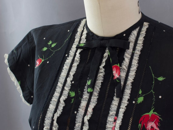 1950s Crisp Rose Print Dress | XS - image 8