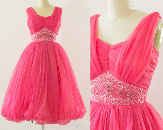 1950s Small Chiffon Party Dress 34B Extra 24W Pink Hot rfBYr