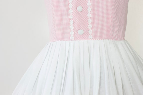 1950s Pink Gingham Cotton Dress | Large - image 7