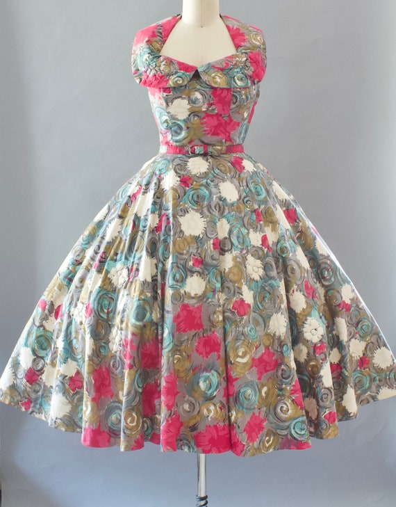 1950s Floral Sundress | Small