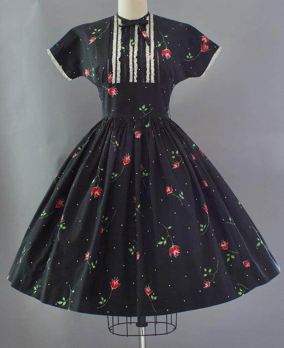 1950s Crisp Rose Print Dress | XS - image 1