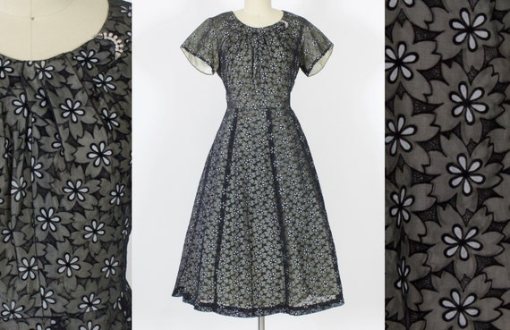 50s Eyelet Lace Party Dress | Large