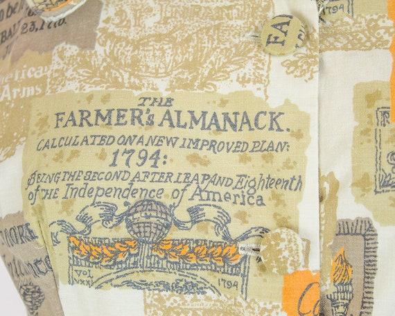 1950s Cotton 35b Sundress Print Novelty 24W Almanac Farmers XS rqpI6wr