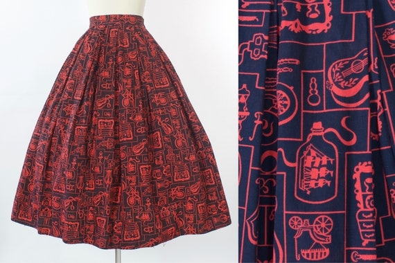 1950s Novelty Print Cotton Skirt | XS