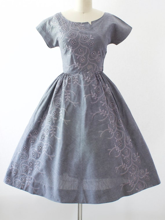 1950s Chambray Embroidered Dress | Small