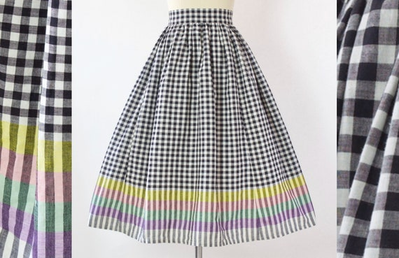50s Rainbow Gingham Cotton Skirt | XS
