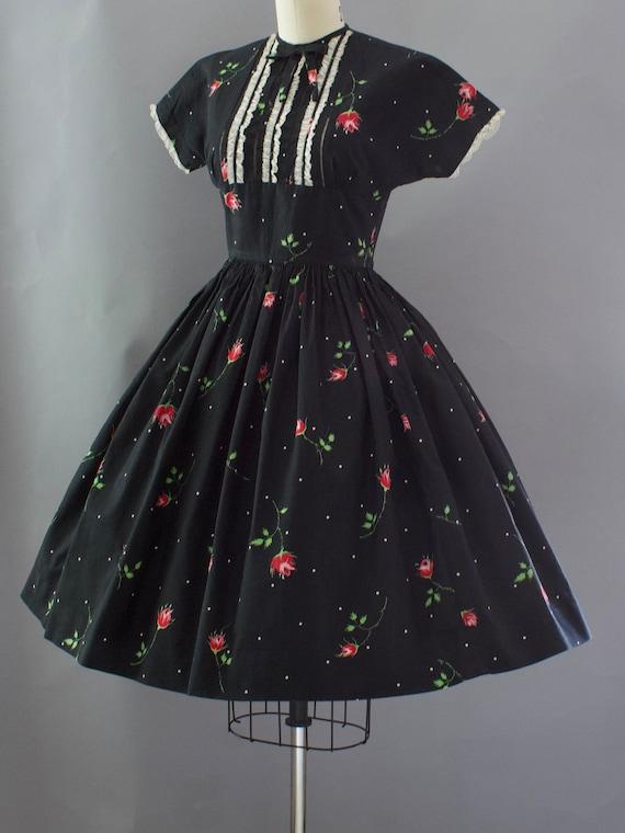 1950s Crisp Rose Print Dress | XS - image 2