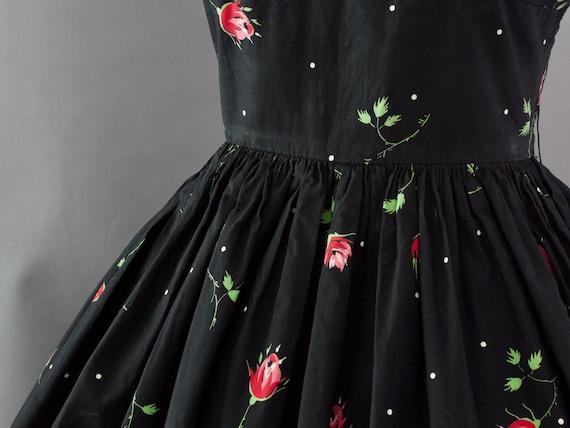 1950s Crisp Rose Print Dress | XS - image 5