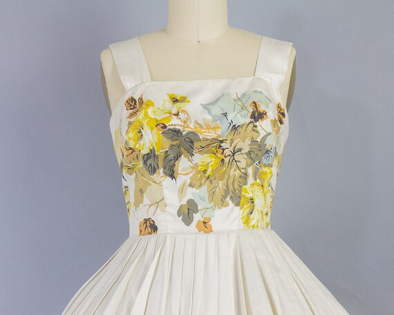 30B Floral Dress 1950s 23W XS Cotton xRgnAq