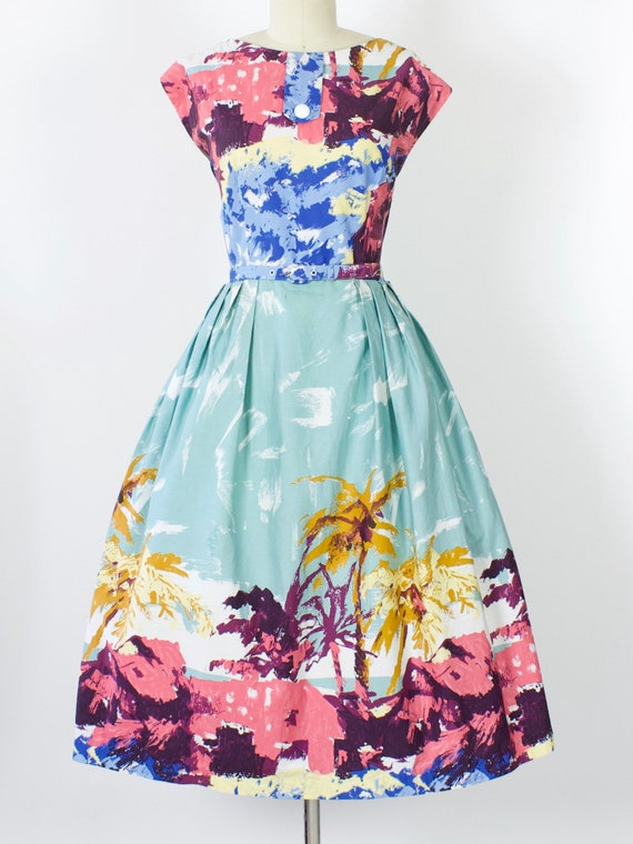 50s Tropical Island Print Cotton Dress | Large | X