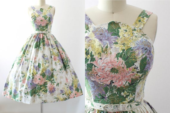 1950s Floral Sundress | Medium
