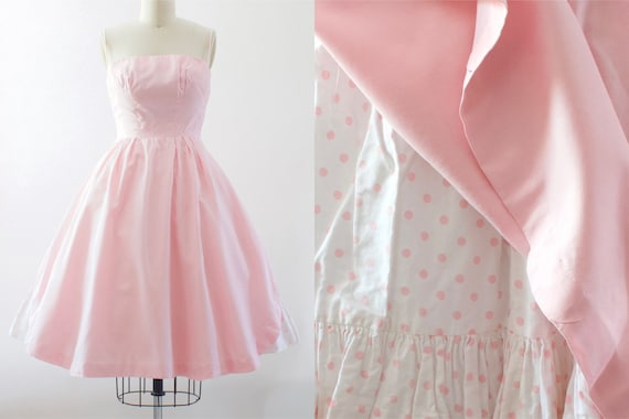 1950s Pink Cotton Sundress | XS