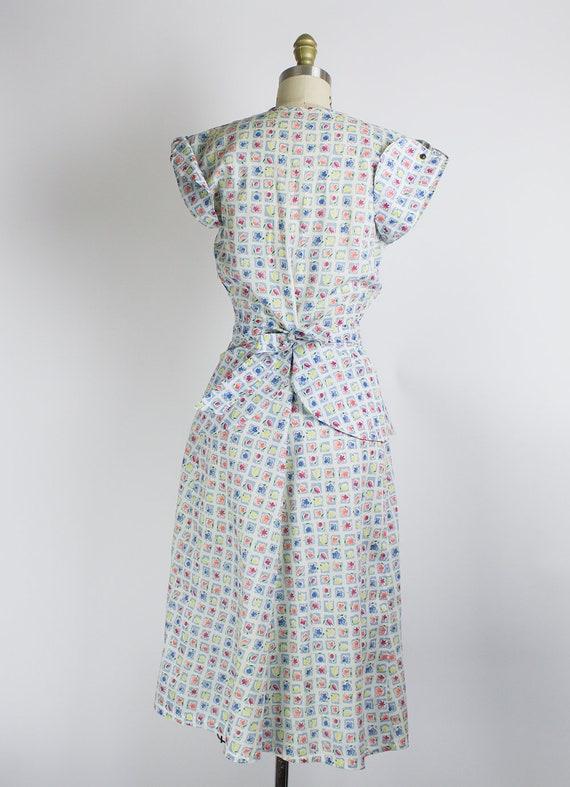 Medium Floral 36B 1940s Voile 27W Day Cotton Dress z4XxqxaWOw