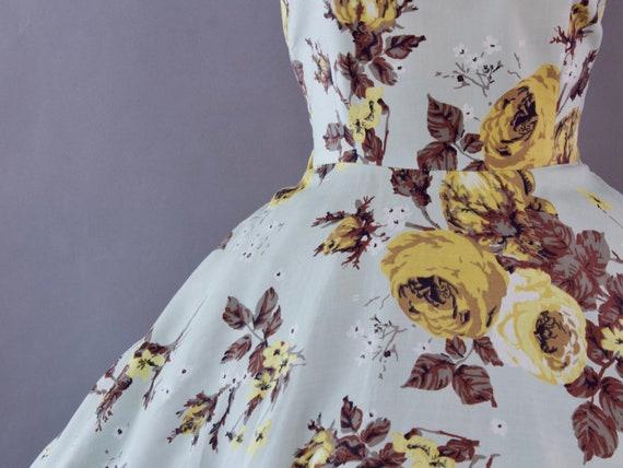 1950s Rose Print Dress | Small - image 5
