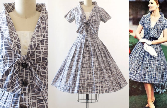 1950s California Cottons Print Dress | Small