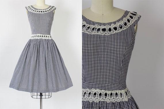 1950s Gingham Cotton Dress