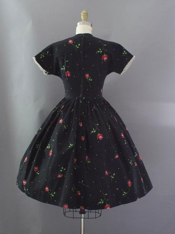 1950s Crisp Rose Print Dress | XS - image 7