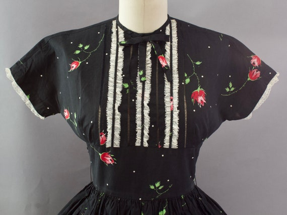 1950s Crisp Rose Print Dress | XS - image 3