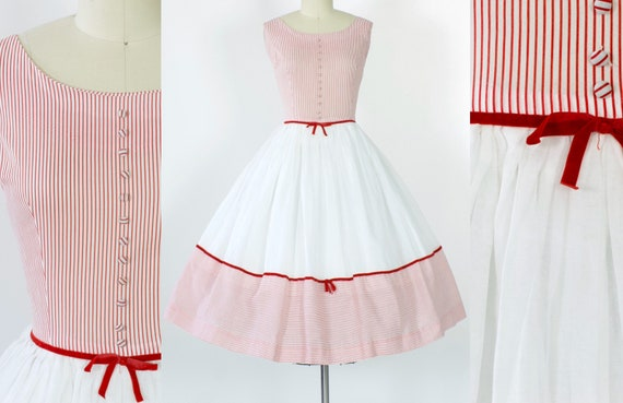 50s Striped Cotton Organdy Party Dress | Large