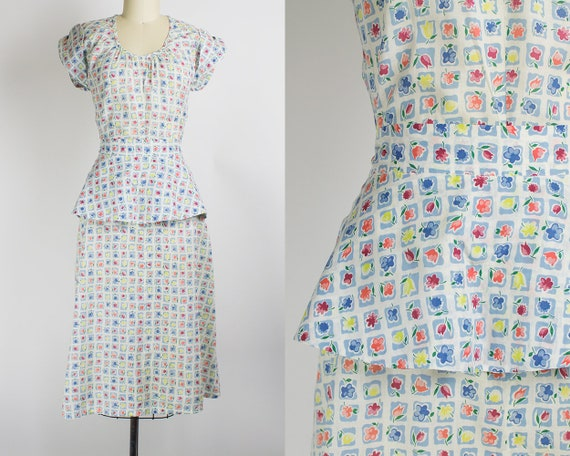 1cf56c8a65f 1940s Floral Cotton Voile Day Dress Medium 36B 27W