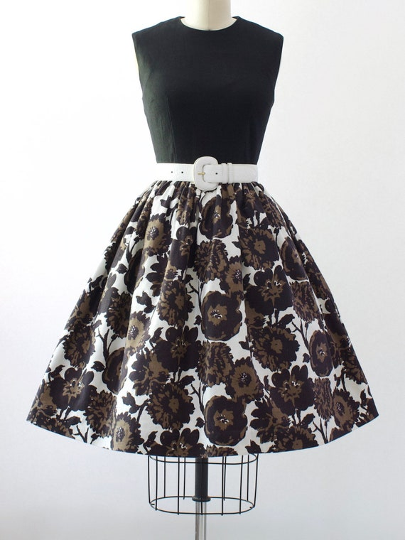 1950s Floral Cotton Dress | Small