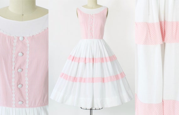 1950s Pink Gingham Cotton Dress | Large